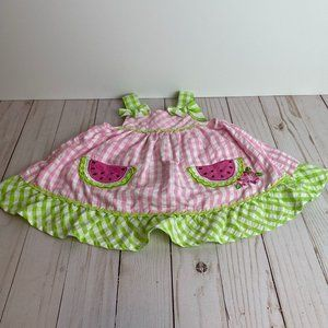 NANETTE BABY Pink & Green Embroidered Sun Dress